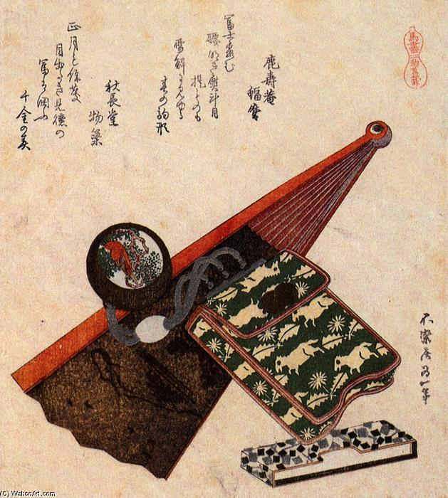 A leather Pouch with kagami by Katsushika Hokusai (1760-1849, Japan)