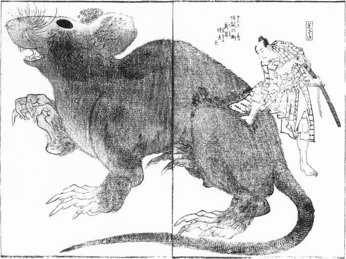 A monster rat from the Raigo Ajari Kaisoden by Katsushika Hokusai (1760-1849, Japan) | WahooArt.com