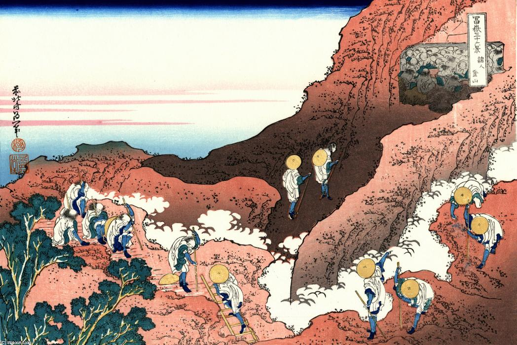Climbing on Mt. Fuji by Katsushika Hokusai (1760-1849, Japan) | Oil Painting | WahooArt.com