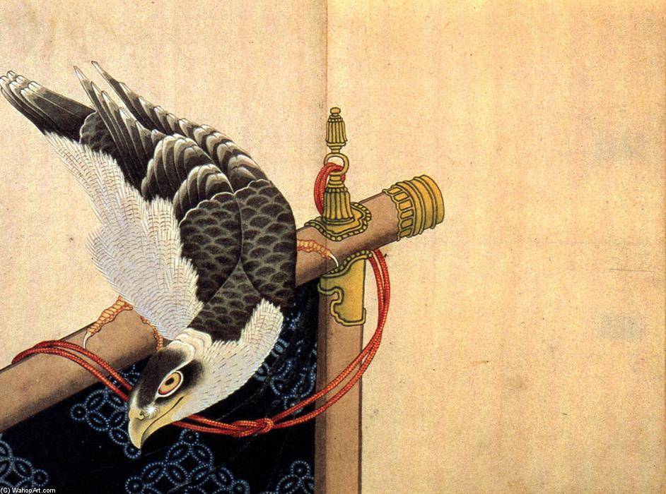 Hawk on a ceremonial stand by Katsushika Hokusai (1760-1849, Japan) | Oil Painting | WahooArt.com