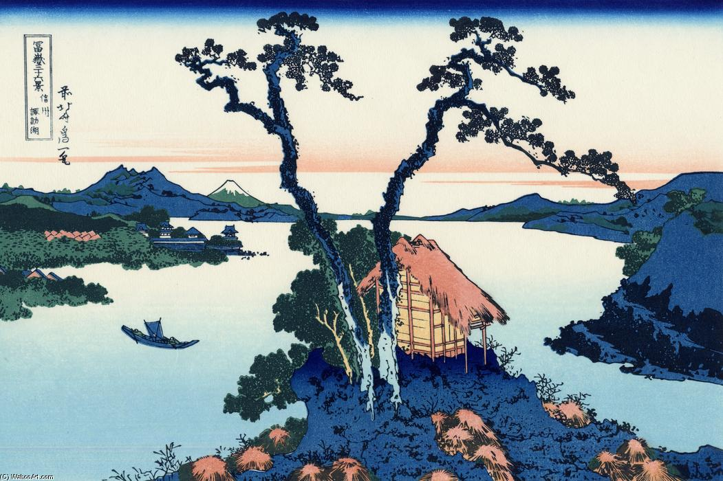 Lake Suwa in the Shinano province by Katsushika Hokusai (1760-1849, Japan)