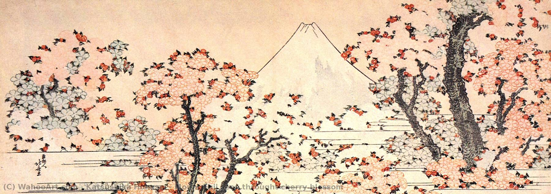 Order Oil Painting : Mount Fuji seen throught cherry blossom by Katsushika Hokusai (1760-1849, Japan) | WahooArt.com