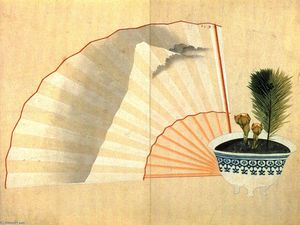 Katsushika Hokusai - Porcelain pot with open fan