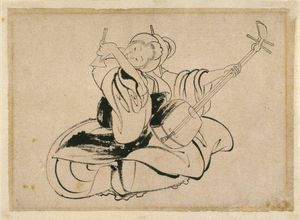 Katsushika Hokusai - Seated Woman with Shamisen