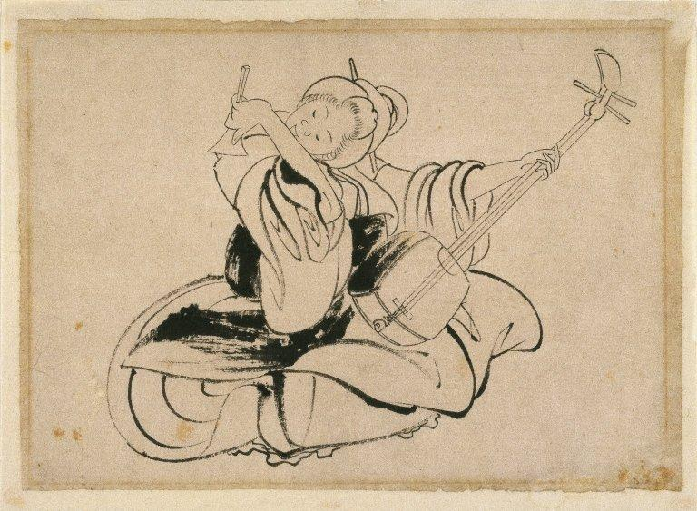 Seated Woman with Shamisen by Katsushika Hokusai (1760-1849, Japan)