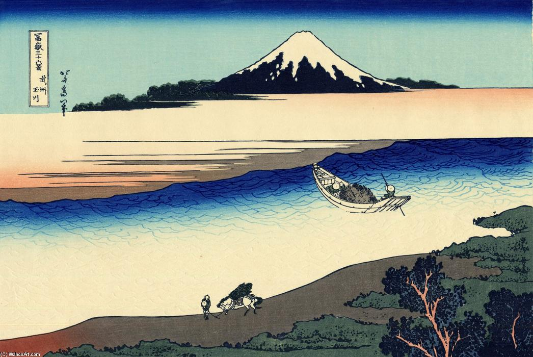 Tama river in the Musashi province by Katsushika Hokusai (1760-1849, Japan) | Museum Quality Reproductions | WahooArt.com