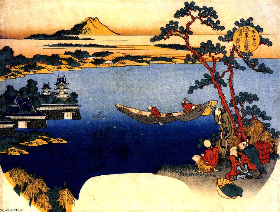 View of lake Suwa by Katsushika Hokusai (1760-1849, Japan)