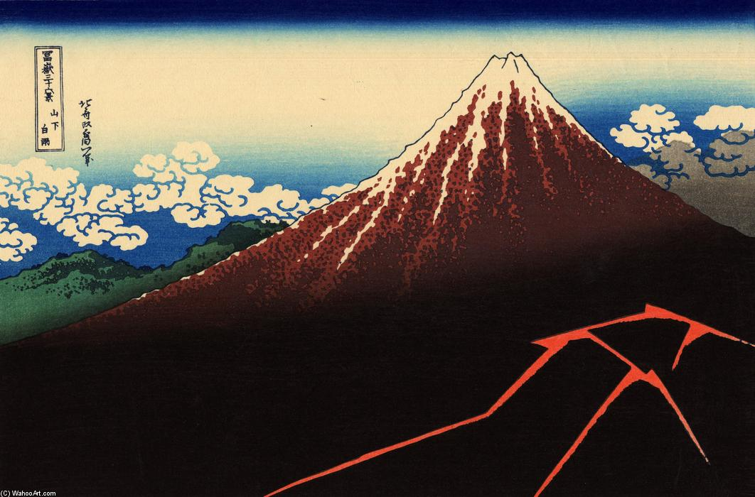 Rainstorm beneath the Summit, 1821 by Katsushika Hokusai (1760-1849, Japan) | Art Reproduction | WahooArt.com