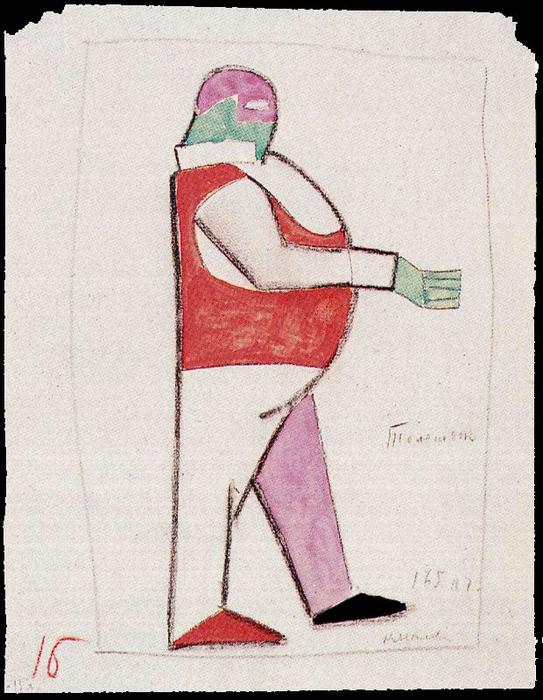 Costume design for the opera ``Victory over the Sun`` by Kazimir Severinovich Malevich (1878-1935, Ukraine) | Museum Quality Reproductions | WahooArt.com