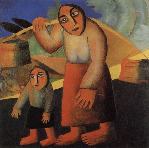 Kazimir Severinovich Malevich - Peasant Woman with Buckets and a Child