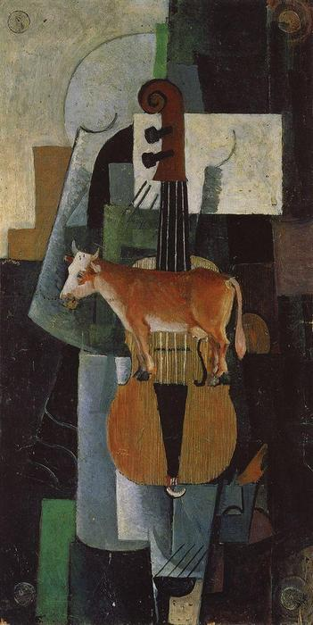 Cow and Fiddle, 1913 by Kazimir Severinovich Malevich (1878-1935, Ukraine) | Famous Paintings Reproductions | WahooArt.com