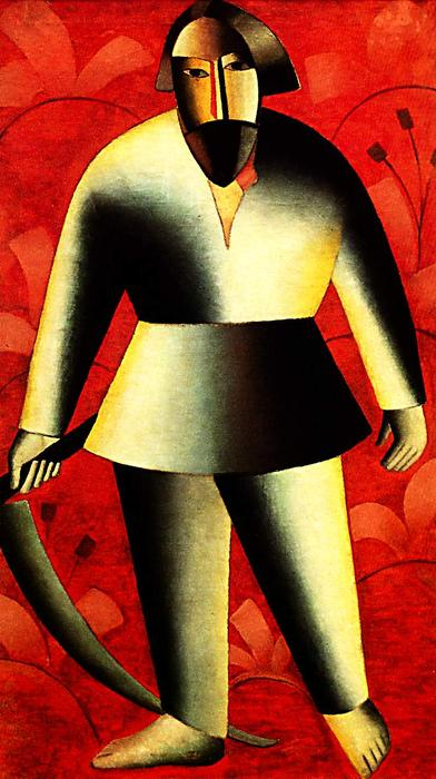 The reaper on red, Oil On Canvas by Kazimir Severinovich Malevich (1878-1935, Ukraine)