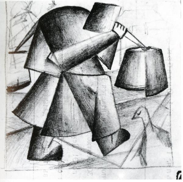 Sketch to the Portrait of a Builder, Pencil by Kazimir Severinovich Malevich (1878-1935, Ukraine)