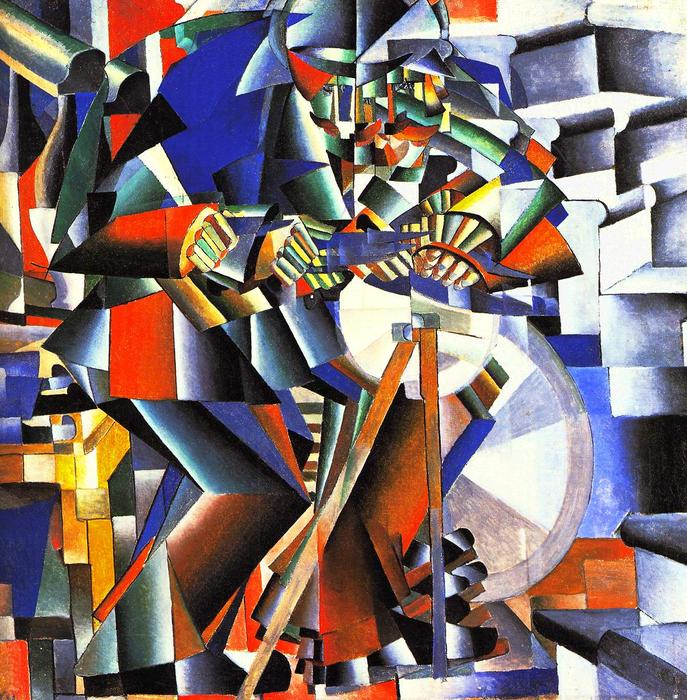 The knifegrinder, 1912 by Kazimir Severinovich Malevich (1878-1935, Ukraine) | Oil Painting | WahooArt.com