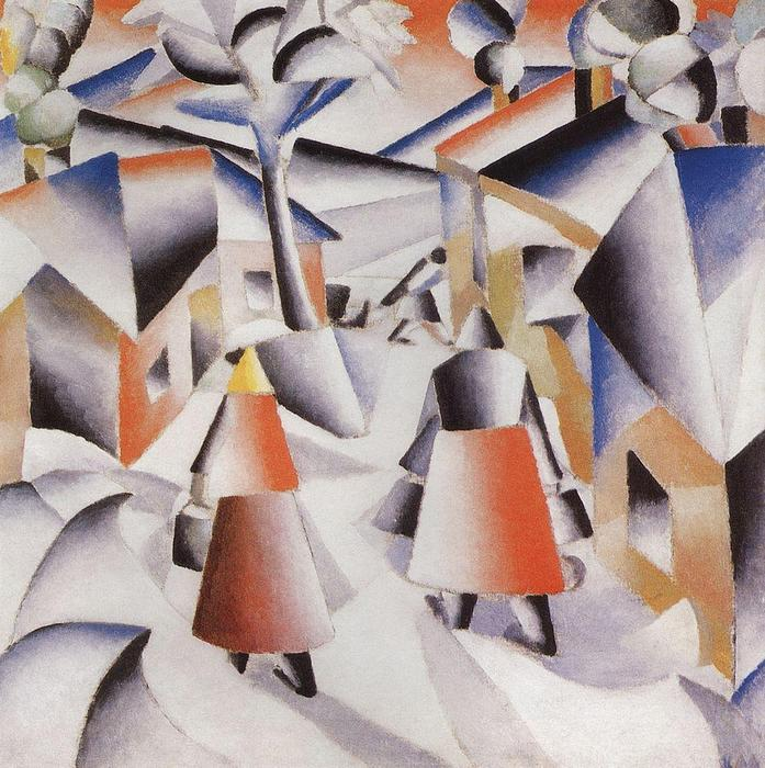 Morning in the Village after Snowstorm, 1913 by Kazimir Severinovich Malevich (1878-1935, Ukraine) | Famous Paintings Reproductions | WahooArt.com