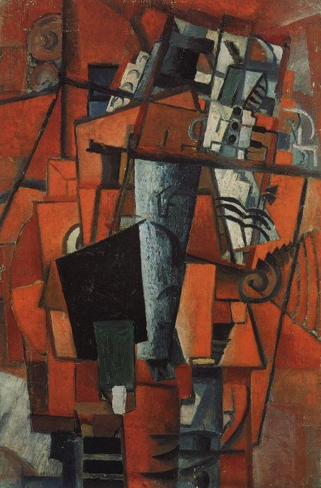 The lady at the piano, 1913 by Kazimir Severinovich Malevich (1878-1935, Ukraine)