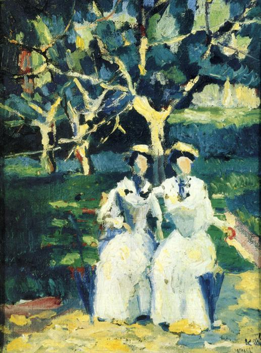 Two Women in a Garden, Oil On Canvas by Kazimir Severinovich Malevich (1878-1935, Ukraine)