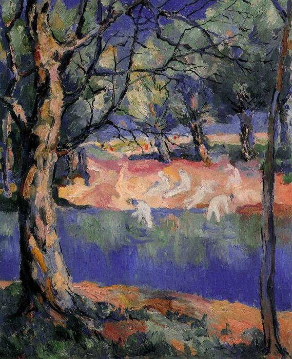 River in Forest, Oil On Canvas by Kazimir Severinovich Malevich (1878-1935, Ukraine)