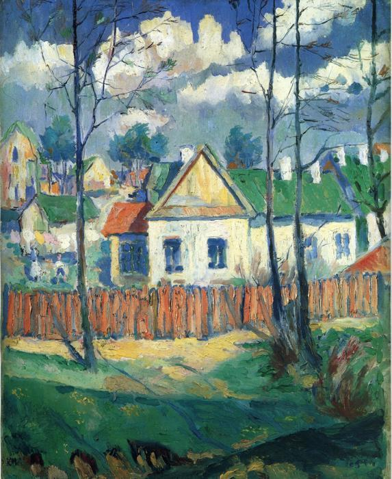 Spring Landscape with a Cottage by Kazimir Severinovich Malevich (1878-1935, Ukraine) | Museum Quality Reproductions | WahooArt.com