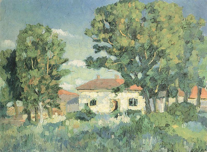Landscape with white houses by Kazimir Severinovich Malevich (1878-1935, Ukraine)