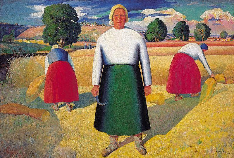 Reapers, Oil by Kazimir Severinovich Malevich (1878-1935, Ukraine)