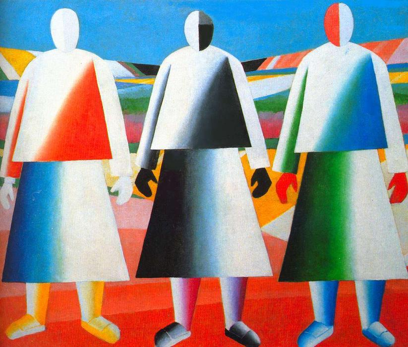 Girls in the Fields, 1932 by Kazimir Severinovich Malevich (1878-1935, Ukraine) | Museum Quality Reproductions | WahooArt.com