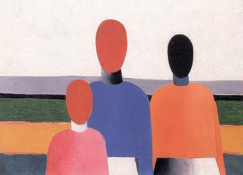 Three Woman Figures, Oil On Canvas by Kazimir Severinovich Malevich (1878-1935, Ukraine)