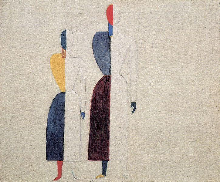 Two Figures, Oil On Canvas by Kazimir Severinovich Malevich (1878-1935, Ukraine)