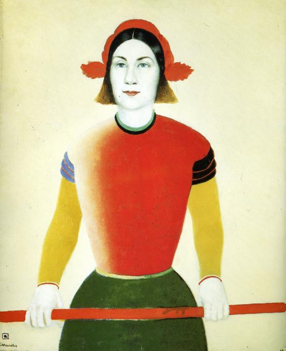 Girl with Red Flagpole, 1933 by Kazimir Severinovich Malevich (1878-1935, Ukraine) | Oil Painting | WahooArt.com