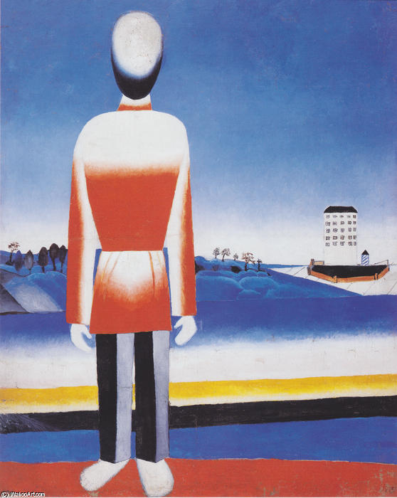 Man in Suprematic Landscape, 1930 by Kazimir Severinovich Malevich (1878-1935, Ukraine) | Oil Painting | WahooArt.com