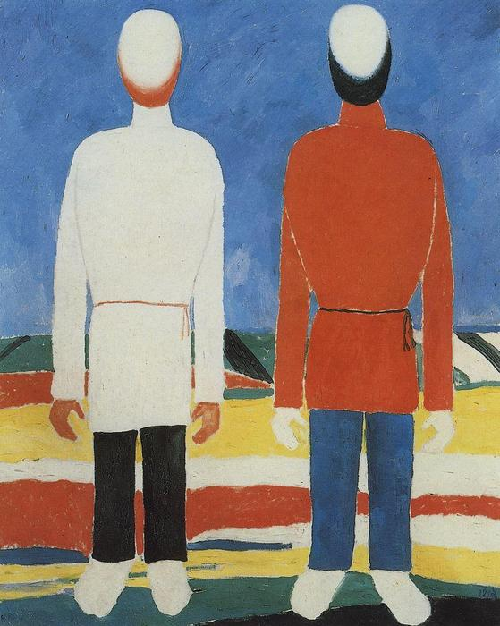 Two Male Figures, Oil On Canvas by Kazimir Severinovich Malevich (1878-1935, Ukraine)
