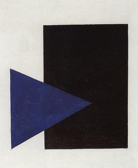 Suprematism with Blue Triangle and Black Square, Oil On Canvas by Kazimir Severinovich Malevich (1878-1935, Ukraine)