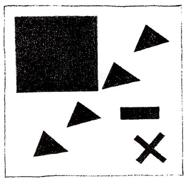 Suprematic group using the triangle, 1920 by Kazimir Severinovich Malevich (1878-1935, Ukraine)