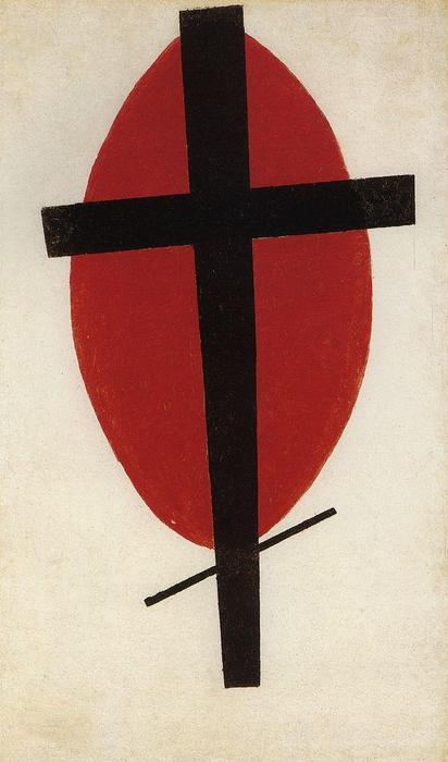 Black cross on a red oval, 1927 by Kazimir Severinovich Malevich (1878-1935, Ukraine) | Oil Painting | WahooArt.com