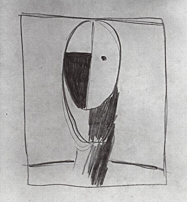 Head by Kazimir Severinovich Malevich (1878-1935, Ukraine)