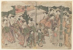 Kitagawa Utamaro - Courtesan`s Entourage at New Year`s Festival