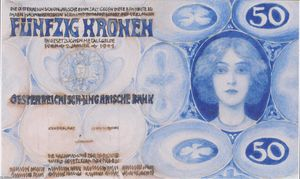 Koloman Moser - Design for the bill of 50 crowns