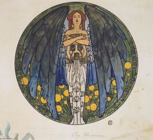 Koloman Moser - The sketch of the round window art