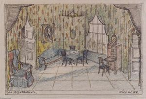 Koloman Moser - Stage design for -The minutes of love- by Edward Bauersfeld