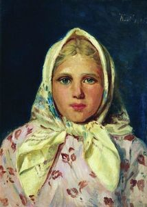 Konstantin Yegorovich Makovsky - Girl in a Kerchief (Portrait of the Girl)