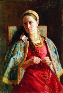 Konstantin Yegorovich Makovsky - Portrait of the Young Lady in Russian Costume