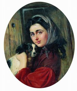 Konstantin Yegorovich Makovsky - Girl with dog