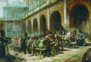 Konstantin Yegorovich Makovsky - Meal of pilgrims in the Trinity Lavra of St. Sergius