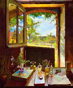 Konstantin Somov - Open Door on a Garden