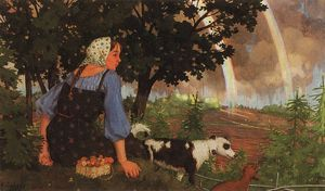 Konstantin Somov - The Girl with the Mushroom under the Rainbow