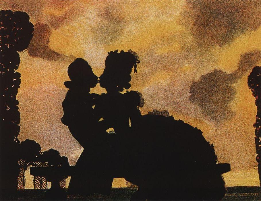 The Kiss (Silhouette), 1906 by Konstantin Somov (1869-1939, Russia)