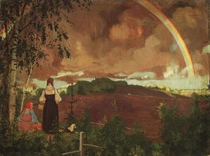 Konstantin Somov - Landscape with Two Peasant Girls and a Rainbow