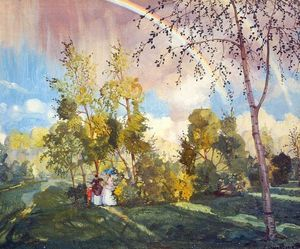 Konstantin Somov - Landscape with a Rainbow