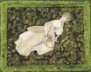 Konstantin Somov - Lady with the Dog, Relaxing on the Lawn