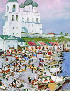 Konstantin Yuon - Near The Pskov-s Cathederal